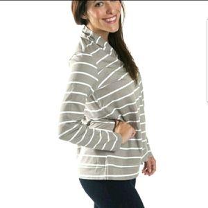 Zip Jersey Cardigan-khaki stripe